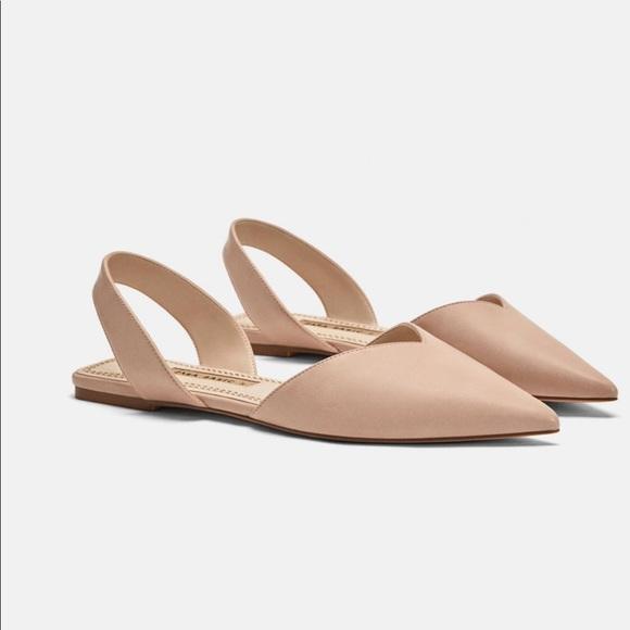 Zara Shoes - BRAND NEW   ZARA NUDE BASIC FLAT SLING BACK